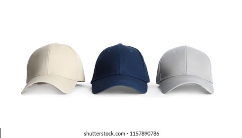 Baseball caps on white background. Mock up for design