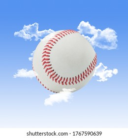 Baseball with Clouds and a Blue Sky Background