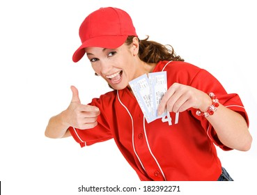 Baseball: Cute Woman Points To Baseball Game Tickets