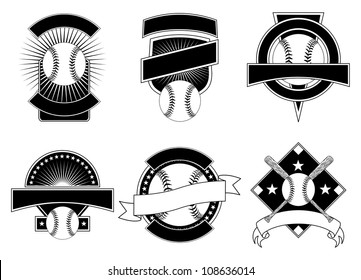 Baseball Design Templates is an illustration of six baseball design templates for use with your own text. Great for t-shirt designs.