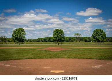 Baseball Diamond with Blue Sky