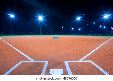 Baseball diamond shot at night from catchers box