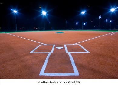 Baseball diamond shot at night from catchers box