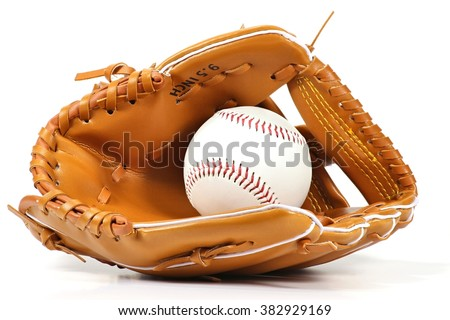 baseball equipment on white background