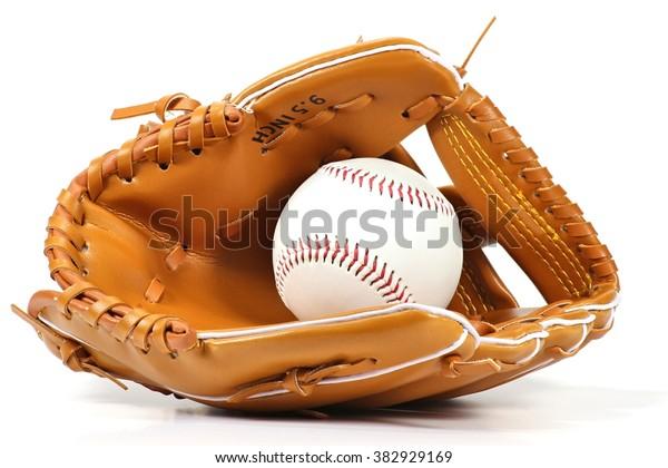 baseball equipment on white background