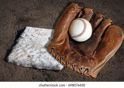 Baseball Equipment Photograph of a Glove, Ball, and Base