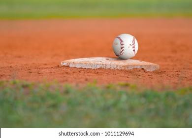 Baseball field Diamond base on green grass Baseline for a baseball sport game