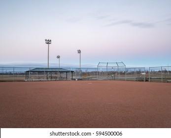 Baseball Field In The Morning Sunrise At Wilson Fields