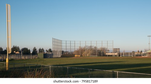 Baseball field seen from left field with foul pole