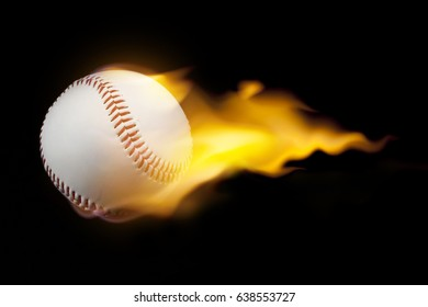 Baseball with fire  on black background