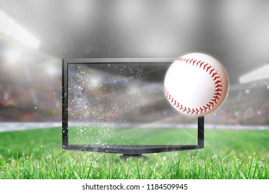 Baseball flying out of shattering TV screen in stadium with copy space. Concept of realistic 3D or 4D sports TV, virtual reality VR or computer gaming.