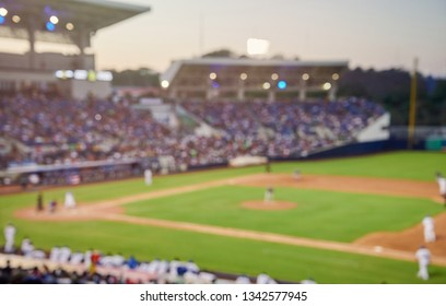 Baseball game blurred background on modern stadium