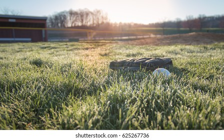 Baseball glove and ball in morning dew near dugout