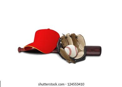Baseball glove with cap ,ball and bat