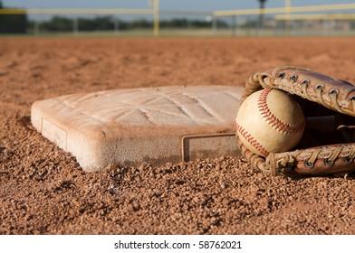 Baseball in a Glove near third base
