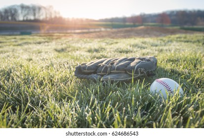 Baseball glove and baseball on field as sun rises through trees in early spring