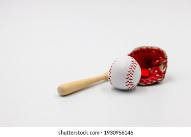 Baseball and glove are on white background