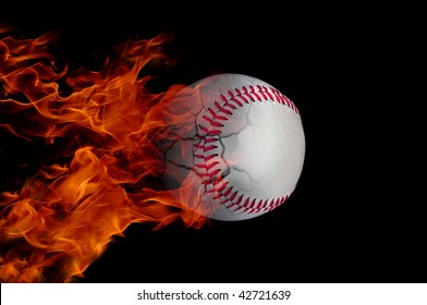 baseball at high speed catching fire and burning