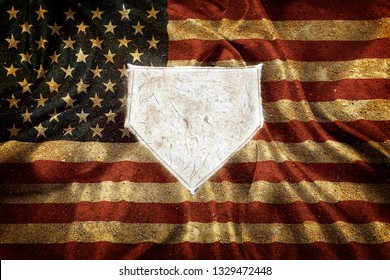 Baseball home plate base ball homeplate representing american sports competition flag