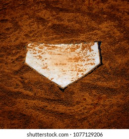 Baseball homeplate home plate in brown dirt for sports american past time