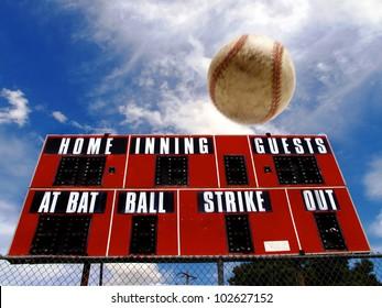 Baseball homerun with scoreboard and Blue Sky