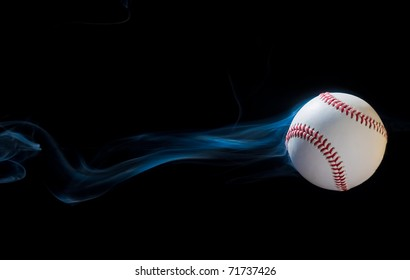 Baseball illusion flying through the black sky.