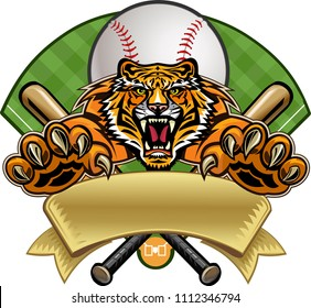 Baseball label tiger