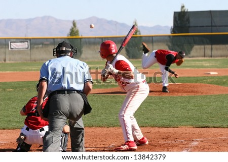 Baseball Midair Pitched Batter Backside View Stock Photo Edit Now