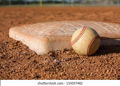 Baseball near Second Base with room for copy
