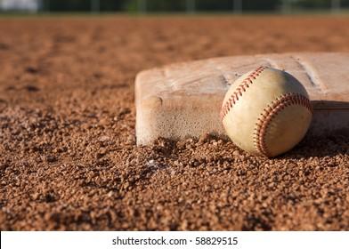Baseball near third base