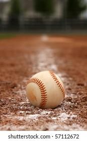 Baseball on the base line