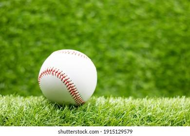 Baseball is on green grass