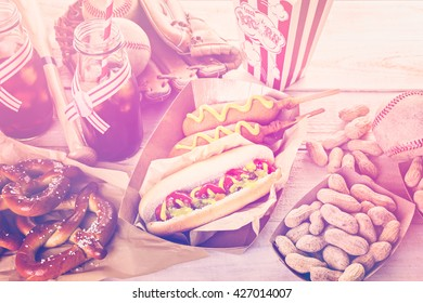Baseball party food with balls and mizuno on a wood table.