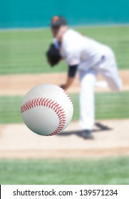 Baseball pitcher throwing the ball right at you