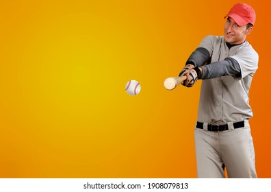 Baseball player with bat beat the ball in action.