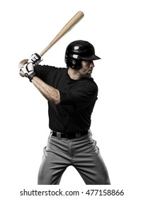 Baseball Player with a black uniform on a white background.