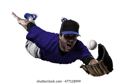 Baseball Player with a blue uniform on a white background.
