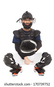 baseball player , catcher showing direction secret  signal
