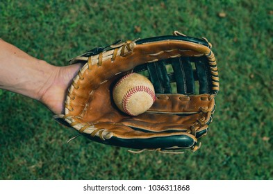 Baseball player with caught ball playing american sport, shown on outfield grass.
