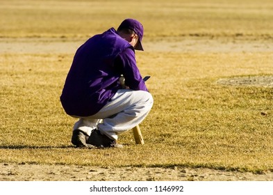 Baseball player or coach making a call on his cell phone