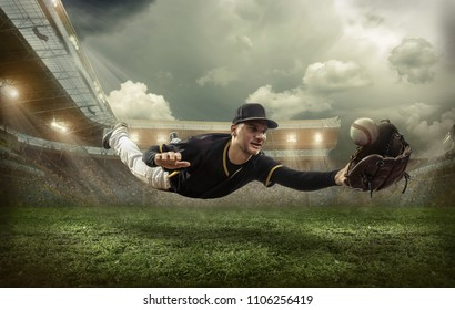 Baseball player in dynamic action under sky with clouds on the stadium.