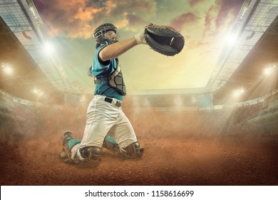 Baseball player in dynamic action under sunset sky on the stadium.