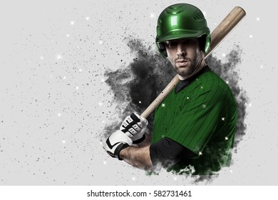 Baseball Player with a green uniform coming out of a blast of smoke .