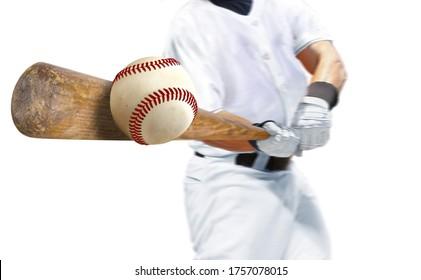 Baseball player hitting ball with bat over white background