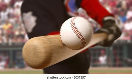 baseball player makes contact with the ball and bat
