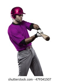 Baseball Player with a pink uniform on a white background.