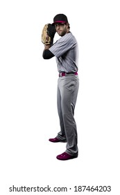 Baseball Player, pitcher, in a Pink uniform, on a white background.