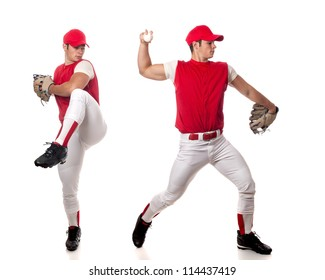 Baseball player pitching. Studio shot over white.