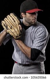 Baseball Player preparing to pitch