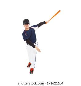 baseball player taking a swing